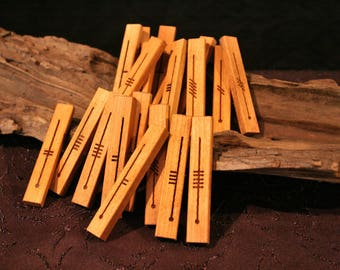 Cherry Celtic Ogham Staves - Engraved Wood Divination, Psychic Reading, Druid, Wicca