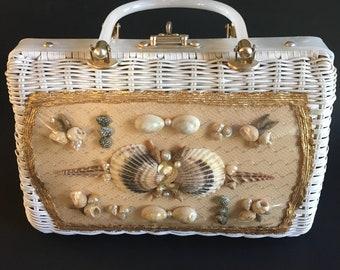 Vintage Princess Charming Woven Wicker and Lucite Box Sea Purse Handbag By Atlas Hollywood, Florida