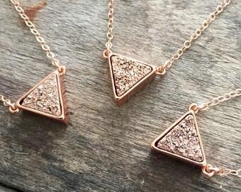 Druzy Necklace, Rose Gold Druzy Necklace, Druzy Triangle Necklace, Titanium Druzy Quartz Necklace, Druzy Jewelry