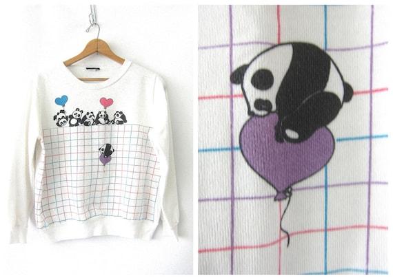 White 80s Panda Bear Sweatshirt Vintage novelty Sweatshirt Slouchy Cartoon HIpster Sweater Women's size Medium