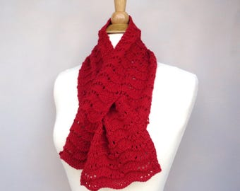Bright Red Keyhole Scarf, Cashmere Blend, Pull Through, Neck Warmer, Bow Scarf, Hand Knit, Merino Wool
