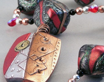 Handcrafted Necklace - Red Copper Silver Black Foil Shield Choker No. 142