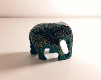 Handbemalter Elefant aus Kaschmir - Blau