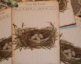 Vintage Yearly Egg Account Ledger Bird Nest Tags