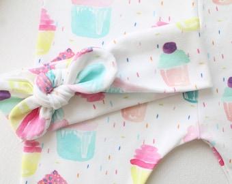 Baby headband, Rainbow sprinkle Cupcake , Birthday Girl , top knot band