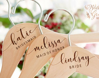 Personalized Bridesmaid Hangers - Wedding Hanger - Bridal Dress Hanger - Engraved Bridesmaid Hanger - Wedding Name Hangers
