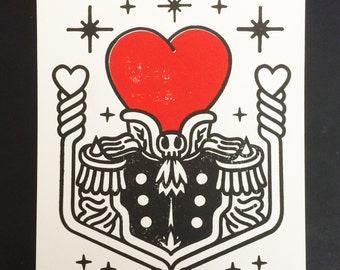 Heart Print Lonely Heart Print Hand Pressed Print Limited Edition by Robot Soda