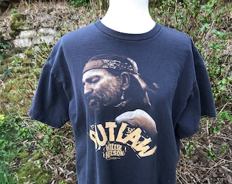 90's Willie Nelson Shirt // Large // XL // Outlaw // Black // T-shirt // Country //