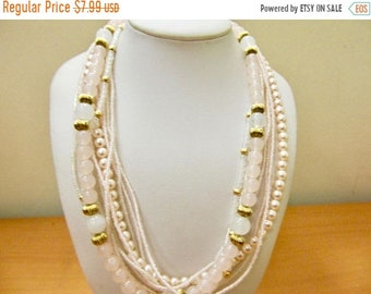 On Sale Vintage Pink Multi Strand Beaded Necklace Item K # 2544