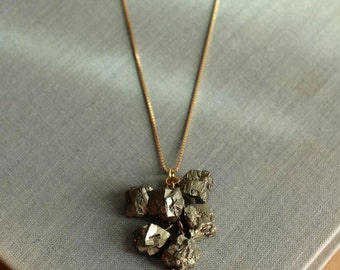 Pyrite Necklace Cluster on Gold Chain Geometric Necklace