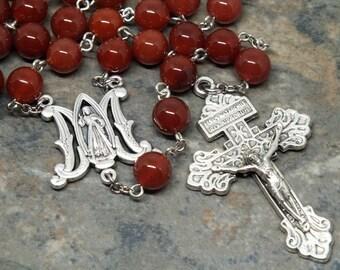 Karneol Edelstein Rosenkranz, 5 Gesätze Rosenkranz, katholischen Rosenkranz, göttliche Barmherzigkeit Rosenkranz, Pardon Kruzifix, Herren Rosenkranz, groß-Rosenkranz