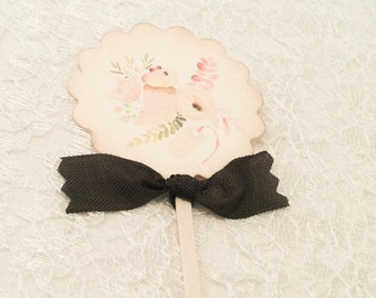 Tea Party Baby Shower Birthday Party Cupcake Picks Toppers-Set of 12