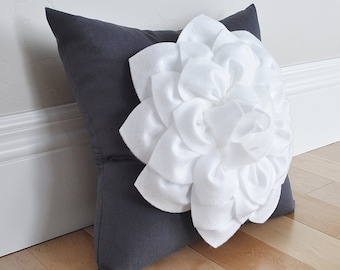 Home Decor White Dahlia Flower on Charcoal Gray Pillow Accent Pillow Throw Pillow Toss Pillow Housewarming Gift