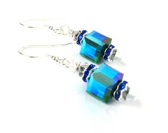Festive Blue Green Swarovski Cube Earrings, Elegant Emerald Green Earrings, Sterling Silver Earrings, Crystal Drop Earrings