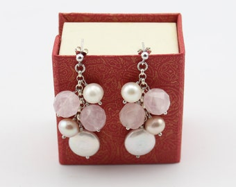 Handcrafts Rose Quartz with Freshwater Pearl Earrings In Sterling Silver