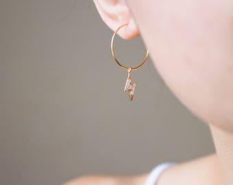 Thunderbolt -earrings (16K cubic zirconia lightning bolt charm 16K polished gold plated hoops)