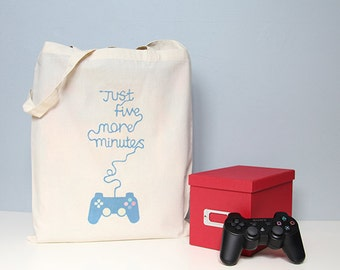 Tote bag, cotton shopper, gaming, Just five more minutes, book bag, gaming tote, quote tote bag, handbag, school bag, video games, gamer
