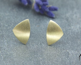 Earrings rose gold 585 /-, triangle 9. 5 mm, bar mat, hand work
