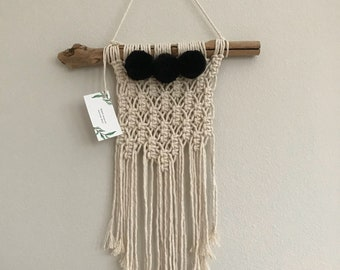 Macrame wall hanging with Black Pom Poms