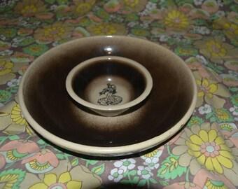 Vintage Brown and Cream Ceramic Chip and Dip Bowl Spanish Flamenco Dancer
