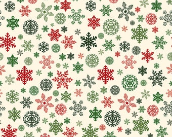 Riley Blake - Christmas Delivery - Snowflakes Cream by Carta Bella