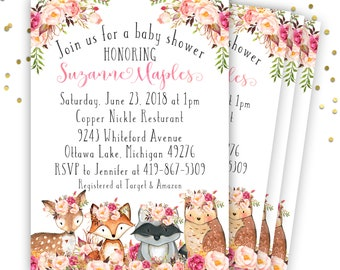 Woodland Baby Shower Invitation, Floral Baby Shower Invitation, Girl Woodland Baby Shower Invitation, Baby Shower Invitation Girl, Printable