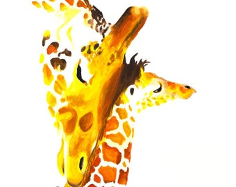 Giraffe With Baby #8 Art Print 8x10 Watercolor