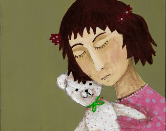 Girl with teddy- acrylic/collage art print