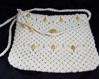 Vintage Tandem Bag - Crochet Macrame Bag Purse Wood Beads and Strap (Free Shipping)