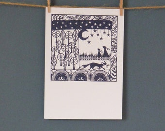 Only 2 remaining! HALF PRICE Greeting Card taken from 'A Woodland Tale' paper cut by Loula Belle At Home