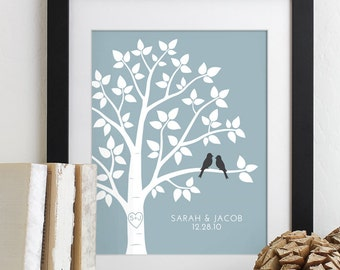 Valentines Day Gift Personalized Love Birds Wedding Family Tree Art Print, Anniversary Gift for Her, Housewarming Gift, Wedding Gift
