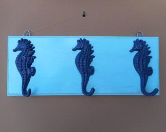 Handmade wooden sea horse coat rack / beach decor / nautical decor