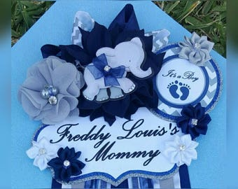 Baby Boy Elephant Navy Blue Gray White Themed Mommy To Be Baby Shower Corsage Or Badge