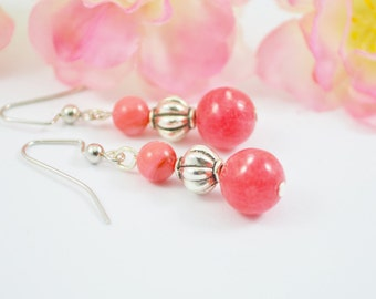 FREE SHIPPING, Coral pink earrings, pink coral earrings, coral earrings, pink dangle earrings, pink drop earrings
