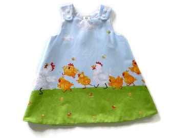 Toddler dress - girls dress - baby dress - infant dress - baby a-line dress - baby pinafore - toddler pinafore - baby dress with chickens
