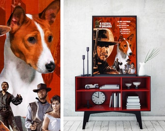 Basenji Dog Art A  fistful of dollars Vintage Style Movie Poster Giclee Print  or Canvas Print Wall Art Gift for Her Gift For Him