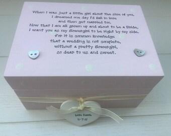 Shabby Wedding gift for FLOWER GIRL Flowergirl chic present personalised