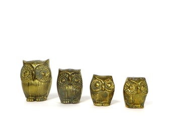 Vintage Brass Owls 4 Solid Brass Owls Owl Family Farmhouse Home Big Eyed Owls Brass Birds