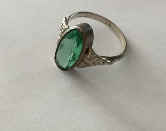 1920s Art Deco Glass Stone Statement Ring