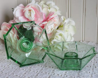 Fostoria Green Glass Candle Holders/ George Sakier/ Geometric Design/ Line #2402