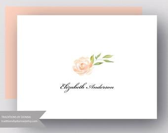 PERSONALIZED NOTECARDS  WOMENS Stationery / Single Rose Boxed Set of 10 Folded Notecards   /Womens Personalized Stationery Wedding Thank You