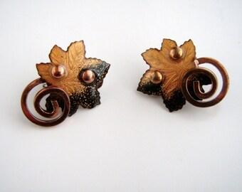 Vintage Matisse Enamel Copper  Leaf earrings  1950s-60s