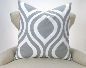 Gray Ogee Pillow Cover -MANY SIZES- Emily Storm white custom decorative cushion euro sham bold geometric modern 18x18 24x24 28x28