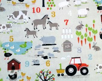 Fabric animal farm N2, horses, pigs, sheep, chickens, rabbits, & tractors