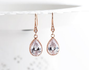 Rose gold earrings Rose gold Tear drop earrings Blush earrings Rose gold Crystal earrings Bridal earrings Pink gold Teardrop earrings 641
