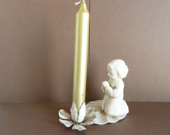 Candle Holder, Metal Leaf w / Flower Candle Holder, Comes Complete with Candle