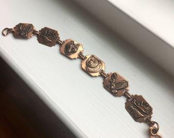 """Vintage 1970s Copper Wildlife Animals Link Bracelet 7 1/2"""""""