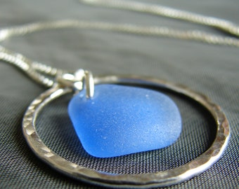 Sea glass necklace / gift for wife / sea glass jewelry / everyday necklace / sterling silver / beach glass necklace / seaglass pendant