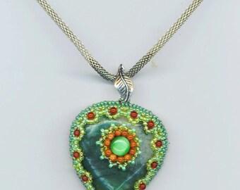Green Agate Heart Pendant .Emerald Green , Christmas. Goldstone, Jasper . Scalloped Beadwork - Flower of my Heart  by enchantedbeads on Etsy