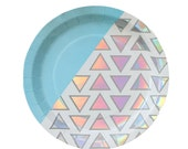 Disco Diamond Sparkly Large Plates - iridescent holographic plates - dinner plate birthday wedding shower Christmas Hanukkah Frozen holiday